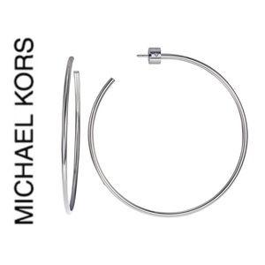 NWT authentic MK Silver tone large hoop earrings